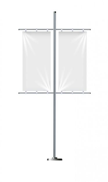 Banner flag templates, set of vector advertising flags. Premium Vector