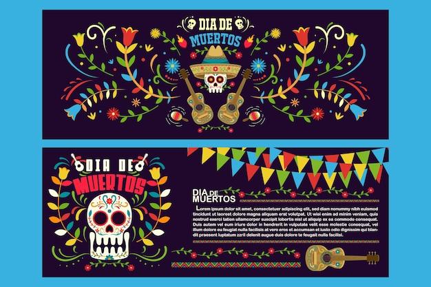 Banner flyer day of dead in mexico, dia de los muertos holiday party  template Premium Vector
