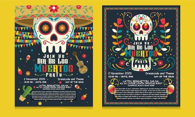 멕시코, 디아 드 로스 뮤 에르 토스 휴일 파티 템플릿에서 죽음의 배너 전단지의 날 프리미엄 벡터