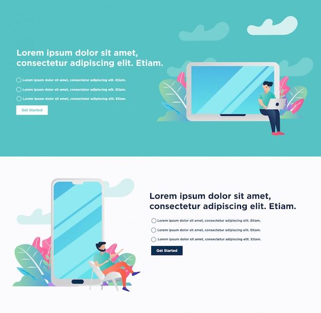 Banner. freelance concept remote working Premium Vector