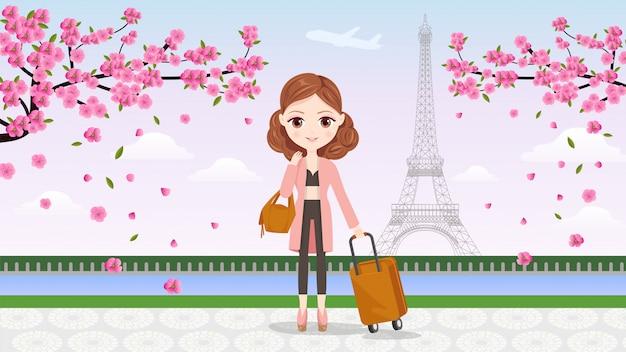 Banner girl travel to paris Premium векторы