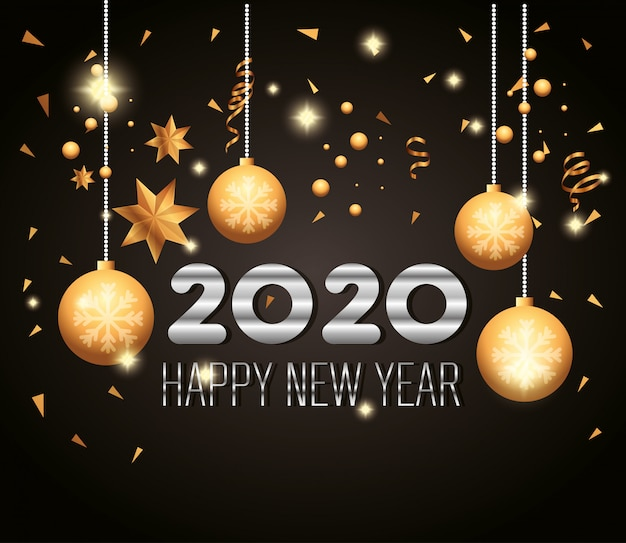 Banner of happy new year 2020 with decoration balls ...