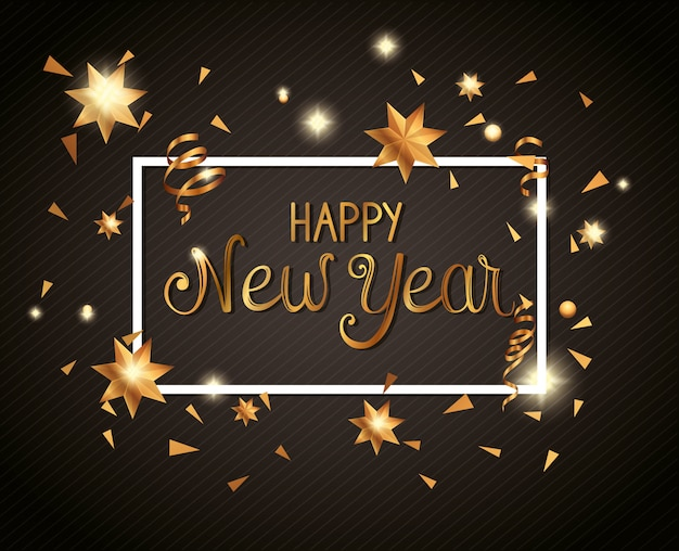 Banner of happy new year in frame Free Vector