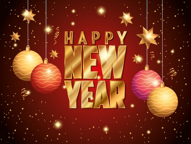 Banner of happy new year with balls decoration hanging Free Vector