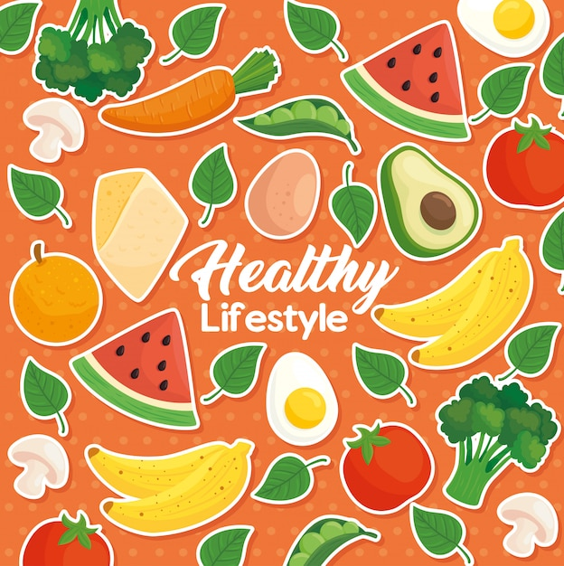 Premium Vector Banner Healthy Lifestyle On Background Of Fruits Vegetables And Healthy Food