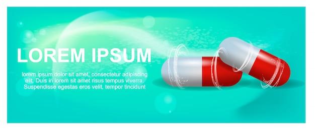 Banner illustration advertisement painkiller pils Premium Vector