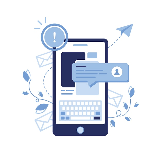Banner illustration of email marketing & message concept. letter, envelope. phone newsletter. chat bot, dialogue, sms, communication, user. pop-up window. study online. article. blue. Premium Vector