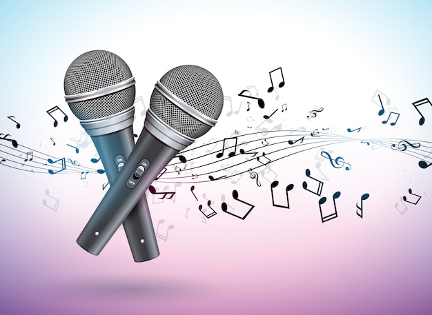 Banner illustration on a musical theme with microphones and falling notes Premium Vector