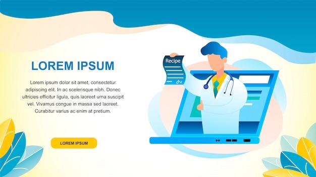 Banner illustration online doctor consultation Premium Vector