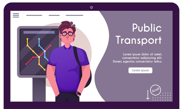 Banner illustration of public underground city transport. character man passenger stands at station, waits arrival of subway car, metro lines map. urban traffic infrastructure, transportation Premium Vector