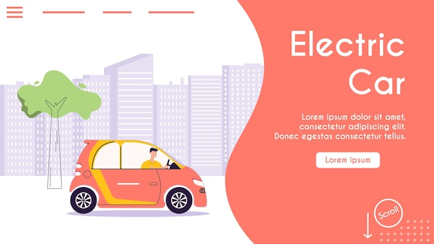 Banner illustration of urban eco transport. character driver driving electric car, cityscape. modern urban environment and infrastructure, eco friendly lifestyle concept Premium Vector