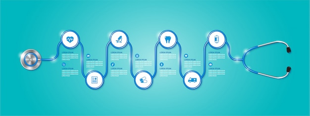 Banner infographic healthcare and medical stethoscope and flat icons Premium Vector