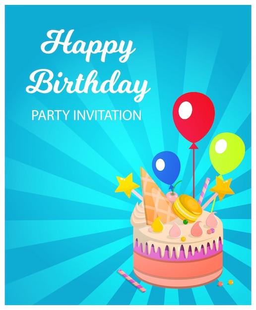 Banner inscription happy birthday party invitation Premium Vector