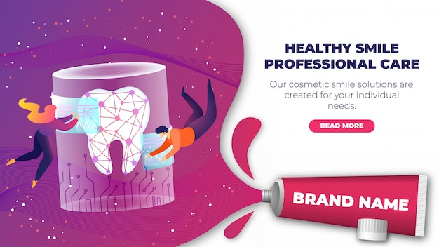 Banner is written healty smile professional care. Premium Vector