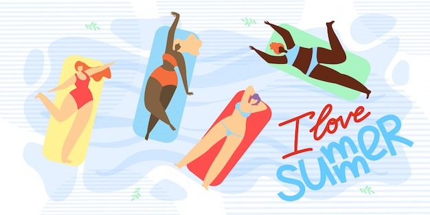 Banner is written i love summer illustration Premium Vector