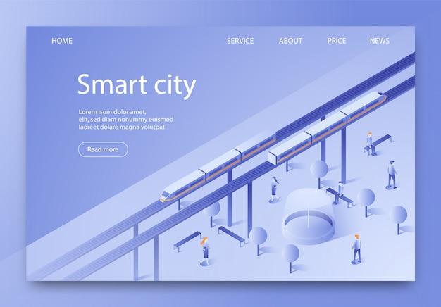 Banner is written smart city isometric lettering. Premium Vector