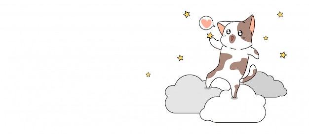 Баннер каваий кот ловит звезду на облаке Premium векторы