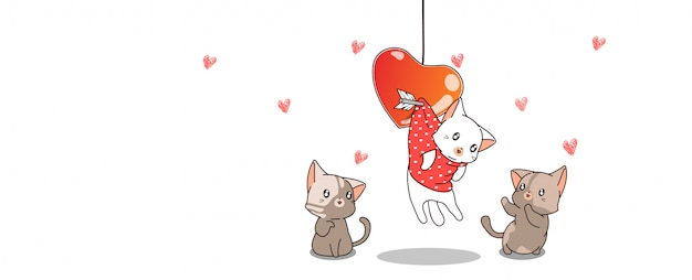 Banner kawaii cat is hanging with heart and friends Premium Vector