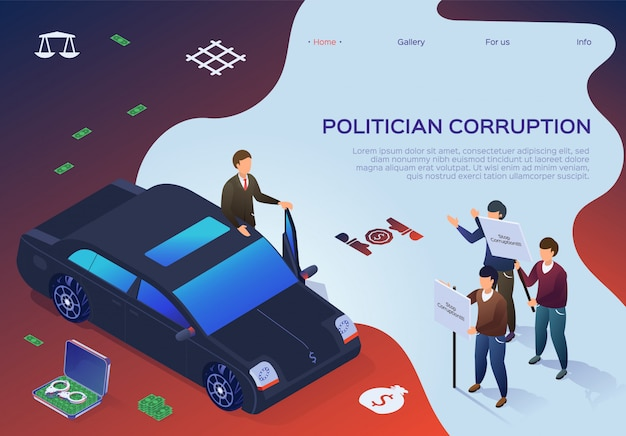 Banner lettering politician corruption cartoon. Premium Vector