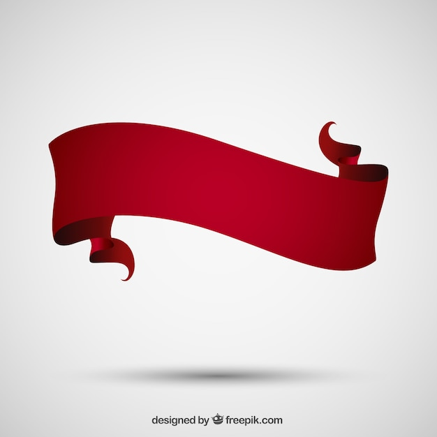 Banner made of red ribbon Free Vector