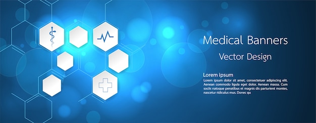 Banner medical dna and technology background Premium Vector