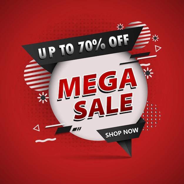 Banner  mega sale up Premium Vector