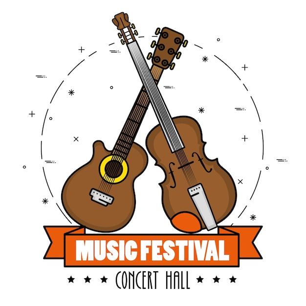 Banner music festival live Premium Vector