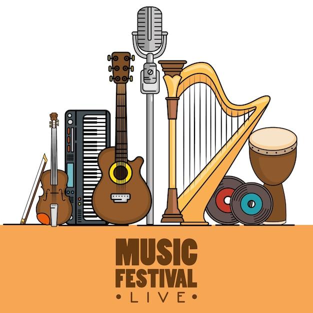 Баннер музыкальный фестиваль жить Premium векторы