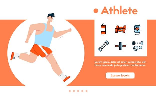 스포츠 유니폼 조깅, 건강한 라이프 스타일, 심장 운동, 체중 감량에 남자 선수의 배너. 색상 선형 아이콘 세트-샌드백, 아령 프리미엄 벡터