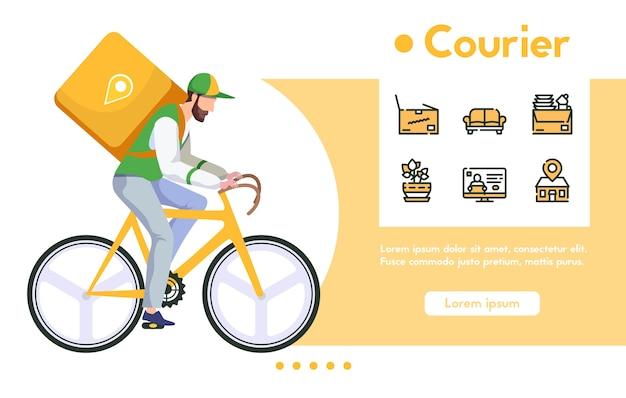 자전거에 패키지와 함께 남자 택배의 배너. 빠른 배달 음식 또는 구매, 디지털 쇼핑. 색상 선형 아이콘 세트-가구 소포, 위치 추적 프리미엄 벡터