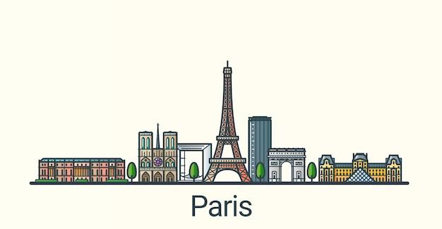 フラットラインのトレンディなスタイルのパリ市のバナー。すべての建物が分離され、カスタマイズ可能です。線画。 Premiumベクター