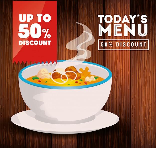 スープと50割引の今日のメニューのバナー 無料ベクター
