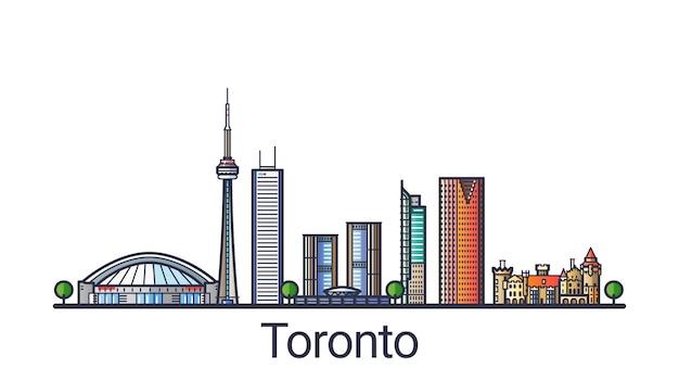 Баннер горизонта города торонто в модном стиле плоской линии. штриховая графика города торонто. все здания разделены и настраиваются. Premium векторы
