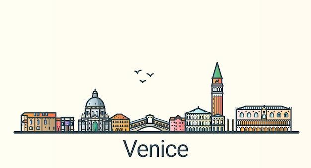 フラットラインのトレンディなスタイルのヴェネツィア市のバナー。ヴェネツィアの街の線画。すべての建物が分離され、カスタマイズ可能です。 Premiumベクター