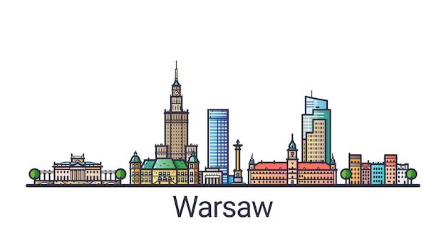 Баннер горизонта города варшавы в модном стиле плоской линии. линия города варшава. Premium векторы