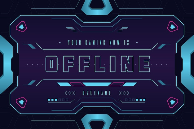 Banner for offline twitch platform in gammer style Free Vector