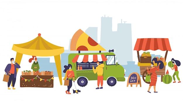 Баннер на тему рынка фермы, натуральные продукты. фестиваль уличной еды. разные продавцы, местный магазин. фермеры продают свежие овощи, фрукты. люди покупают еду после блокировки коронавируса. плоский дизайн Premium векторы