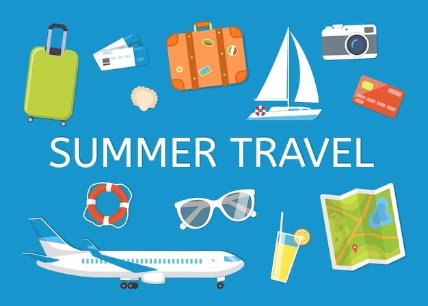 旅行とレジャーをテーマにしたバナー:荷物、チケット、飛行機、ヨット、サングラス、カメラ、ライフライン、貝殻。イラストフラットスタイル。青い背景のオブジェクト、上から見たところ。 Premiumベクター