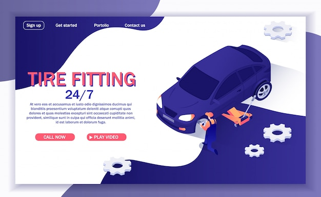 Banner for online car service offers tire fitting Premium Vector