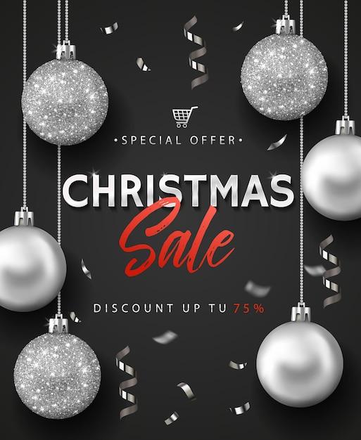 크리스마스 판매 배너 또는 포스터. 프리미엄 벡터