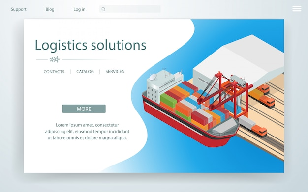 Banner page logistic solutions on cargo ship. Premium Vector