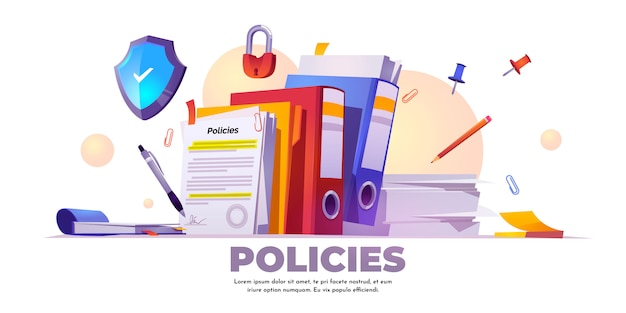 Banner of policies, rules and agreement Free Vector