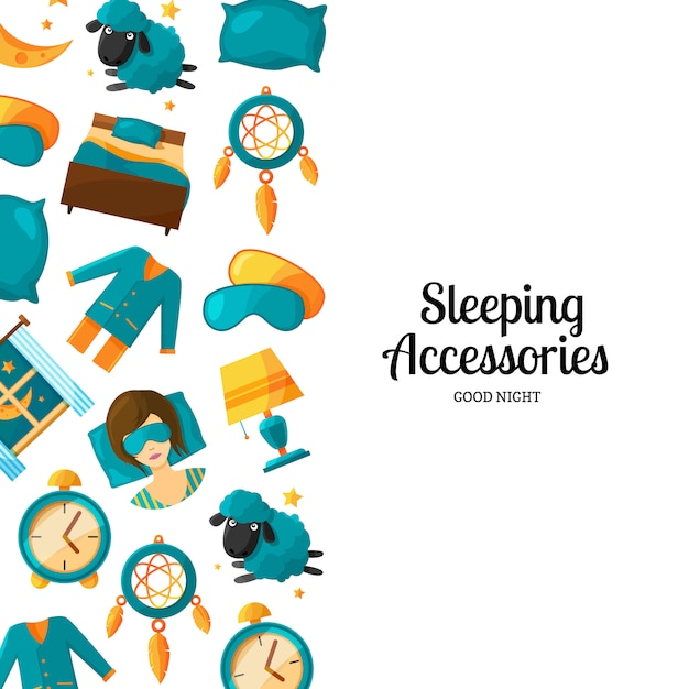 Banner and poster background with cartoon sleep elements Premium Vector