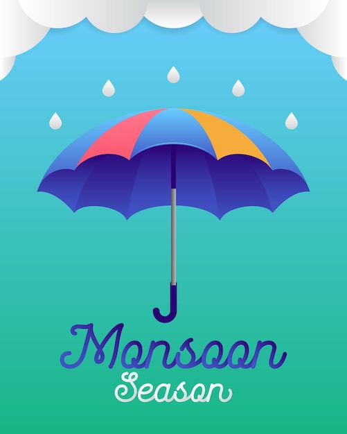 Banner or poster of monsoon season Premium Vector
