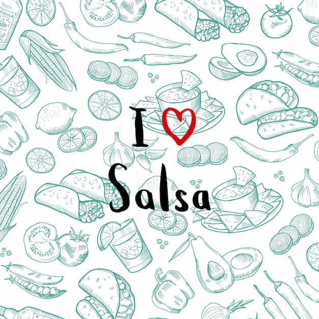 Banner poster with sketched mexican food elements with lettering Premium Vector