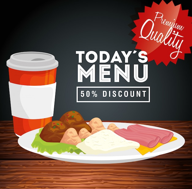 Banner of premium quality today menu fifty percent discount Free Vector