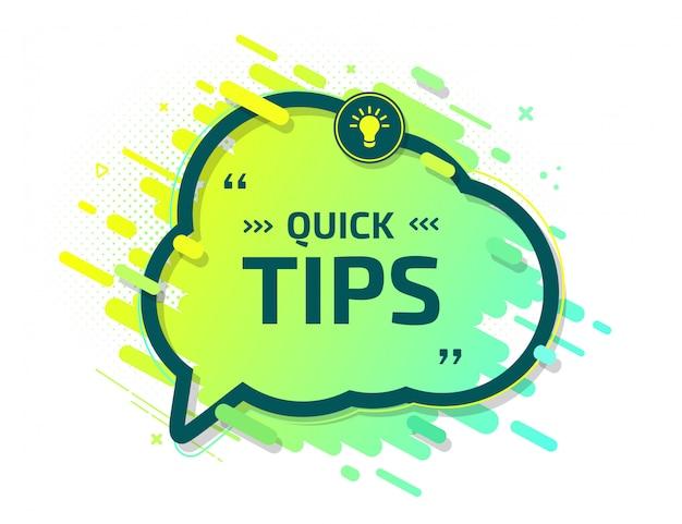Banner of quick tips. speech bubble helpful trick Premium Vector