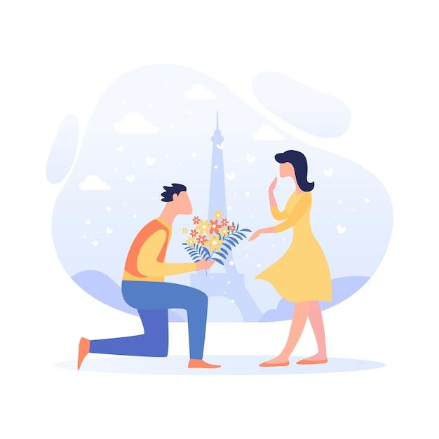 結婚式の漫画につながるバナー関係。 Premiumベクター