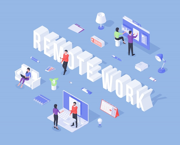 Banner for remote work with three dimensional workers Premium Vector