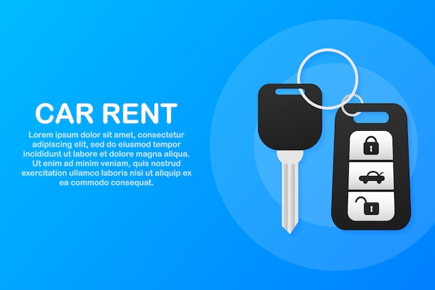 Banner of rent auto service. trading cars and rental cars. web site, advertising like hand and key Premium Vector
